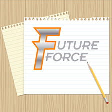 future force logo on line paper with a pencil